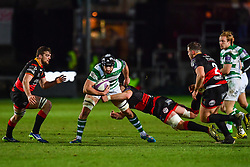 Newcastle Falcons' Gary Graham is tackled by Dragons' Aaron Wainwright<br /> <br /> Photographer Craig Thomas/Replay Images<br /> <br /> EPCR Champions Cup Round 4 - Newport Gwent Dragons v Newcastle Falcons - Friday 15th December 2017 - Rodney Parade - Newport<br /> <br /> World Copyright © 2017 Replay Images. All rights reserved. info@replayimages.co.uk - www.replayimages.co.uk