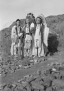 9305-B7371-1.  (l to r) Tom Frank Yallup, Henry Thompson, William Yallup. Celilo Falls, Columbia River, Oregon September 1938.