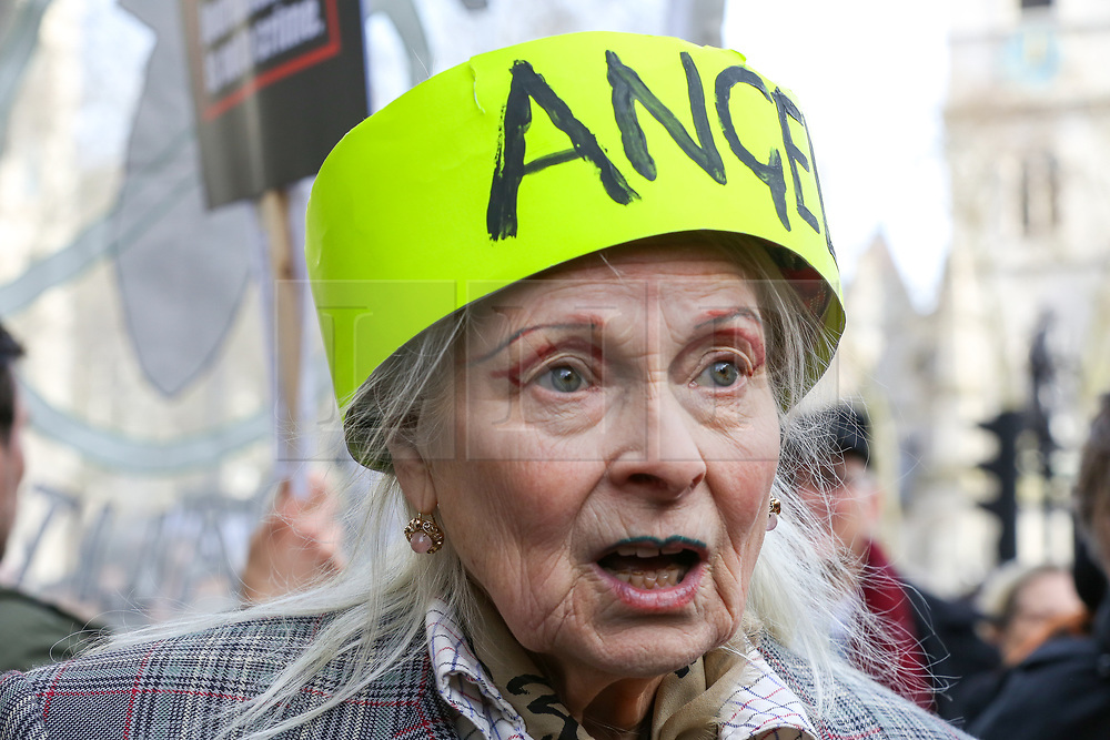 © Licensed to London News Pictures. 22/02/2020. London, UK. VIVIENNE WESTWOOD, British fashion designer joins with the campaigners for Wikileaks founder JULIAN ASSANGE during a rally outside Australia House, Strand, demanding that ASSANGE should not be extradited to the USA. JULIAN ASSANGE faces 18 charges in the United States including conspiring to hack government computers and violating an espionage law. His extradition trial begins at Woolwich Crown Court on Monday, 24 February 2020. Photo credit: Dinendra Haria/LNP