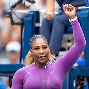 2019 US Open Tennis Tournament- Day Five.  Serena Williams of the United States celebrates her victory against Carolina Muchova of the Czech Republic in the Women's Singles Round Three match on Arthur Ashe Stadium at the 2019 US Open Tennis Tournament at the USTA Billie Jean King National Tennis Center on August 30th, 2019 in Flushing, Queens, New York City.  (Photo by Tim Clayton/Corbis via Getty Images)