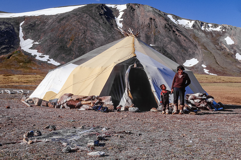 Elder with grand son, Chukchi reindeer camp, Val 'karvaam Valley Chukotsk Peninsula, Northeast  Russia