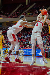 NORMAL, IL - February 05: Isaac Gassman and Rey Idowu try to wrangle in a loose ball during a college basketball game between the ISU Redbirds and the Valparaiso Crusaders on February 05 2019 at Redbird Arena in Normal, IL. (Photo by Alan Look)