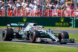 March 16, 2019 - Albert Park, VIC, U.S. - ALBERT PARK, VIC - MARCH 16: Mercedes-AMG Petronas Motorsport driver Lewis Hamilton (44) in final practice at The Australian Formula One Grand Prix on March 16, 2019, at The Melbourne Grand Prix Circuit in Albert Park, Australia. (Photo by Speed Media/Icon Sportswire) (Credit Image: © Steven Markham/Icon SMI via ZUMA Press)
