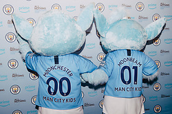 Manchester City mascots Moonchester and Moonbeam at the All or Nothing: Manchester City, at The Printworks in Manchester ahead of its release on Friday.