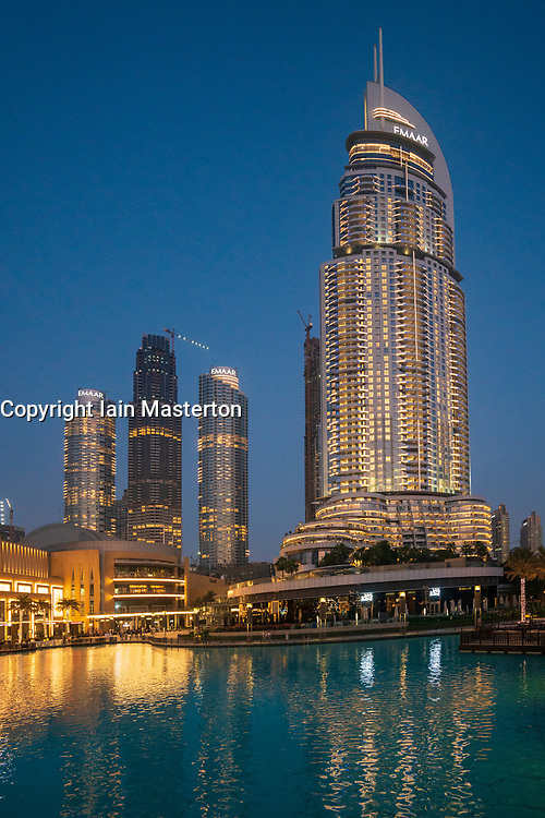 The Address Hotel and apartment towers under construction in the evening in Downtown Dubai, UAE