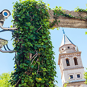Security cameras watching the grounds of the Alhambra in Grenada, Spain.