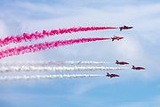 The Red Arrows flying over the seafront and Harbour Arm during Folkestone Air show on the 8th of August 2021 in Folkestone, United Kingdom. (photo by Andy Aitchison)