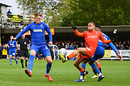 Wycombe Wanderers Midfielder Curtis Thompson (18) and AFC Wimbledon Forward Joe Pigott (39) in action during the EFL Sky Bet League 1 match between AFC Wimbledon and Wycombe Wanderers at the Cherry Red Records Stadium, Kingston, England on 27 April 2019.