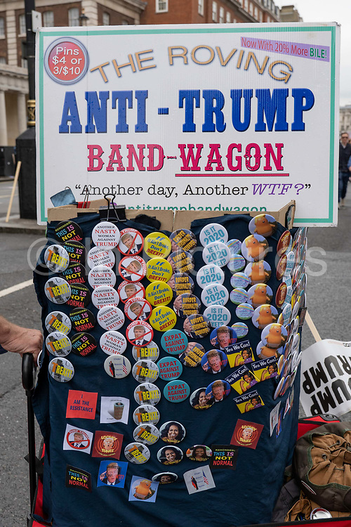 Anti-Trump badges during a demonstration against U.S. President Donald Trumps state visit to the U.K on the 4th June 2019 in London in the United Kingdom. Day two of President Trumps three-day state visit, which includes lunch with the Queen, a State Banquet at Buckingham Palace as well as business meetings with the Prime Minister and the Duke of York, before travelling to Portsmouth to mark the 75th anniversary of the D-Day landings.
