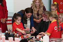 The Duchess of Cambridge during their visit to the Braids Arts Centre in Ballymena to see the workings of the CineMagic charity as part of their two day visit to Northern Ireland.