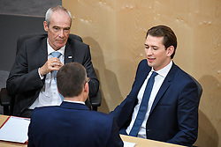 "27.05.2019, Hofburg, Wien, AUT, Sondersitzung des Nationalrates, Sitzung des Nationalrates aufgrund des Misstrauensantrags der Liste JETZT, FPOE und SPOE gegen Bundeskanzler Sebastian Kurz (OeVP) und die Bundesregierung, im Bild v.l. August Wöginger (ÖVP), Innenminister Eckart Ratz, Sebastian Kurz (ÖVP) // during special meeting of the National Council of austria due to the topic ""motion of censure against the federal chancellor Sebastian Kurz (OeVP) and the federal government"" at the Hofburg in Wien, Australia on 2019/05/27. EXPA Pictures © 2019, PhotoCredit: EXPA/ Lukas Huter"