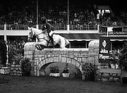 "07/08/1980<br /> 08/07/1980<br /> 07 August 1980<br /> R.D.S. Horse Show: John Player International, Ballsbridge, Dublin. Sonke Sonksen (Germany) on "" Kwept""."