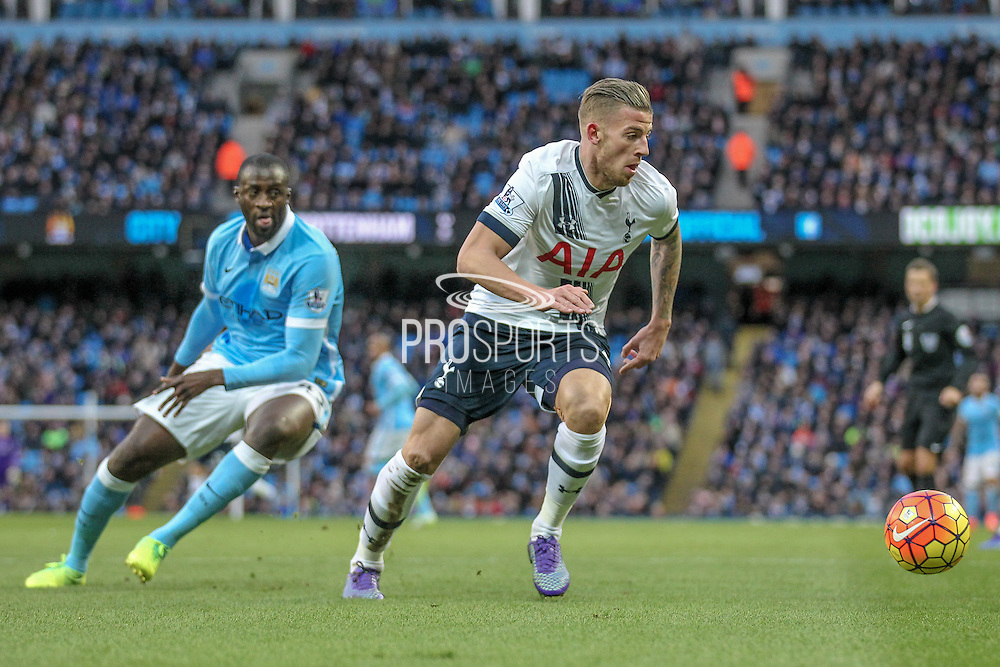 Toby Alderweireld (Tottenham Hotspur) during the Barclays Premier League match between Manchester City and Tottenham Hotspur at the Etihad Stadium, Manchester, England on 14 February 2016. Photo by Mark P Doherty.