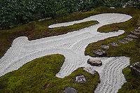 "Zuiho-in Zen Garden's most intriguing feature is its main rock garden called ""Dozuka-tei"" which is raked into appealing patterns to suggest water ripples and waves lapping against rock formations representing the Hohrai Mountains. It was designed by Mirei Shigemori and is considered one of his most important modern Japanese gardens."