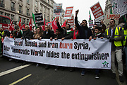Syria Solidarity Campaign March For Aleppo on December 17th 2016 in London, England, United Kingdom. Protesters gather to demonstrate is support of the people of the Besieged Eastern  town of Aleppo which is on the verge of falling to the Assad regime. Reports estimate about 98% of Eastern Aleppo is now under the control of the Assad regime and its allies. The protest is planned to show anger at the inaction of the international community in the face of catastrophic bombings in Aleppo. (photo by Mike Kemp/In Pictures via Getty Images)