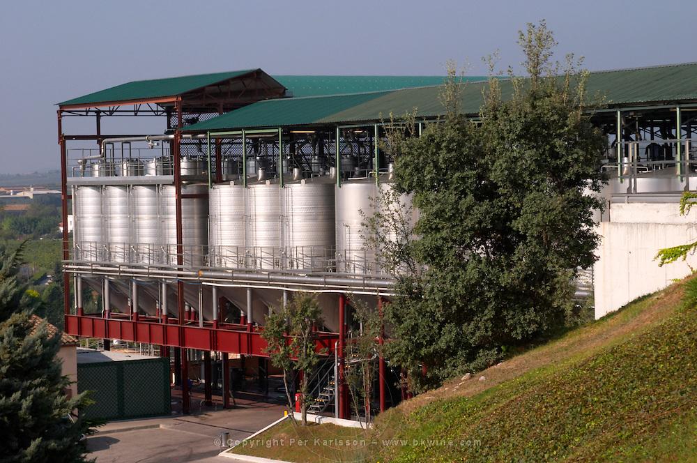 Outside fermentation tanks. Winery building. Fermentation tanks. Torres Penedes Catalonia Spain