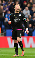 Kasper Schmeichel of Leicester celebrates after his side Score a goal and go 1-0 up. Premier league match, Leicester City v Watford at the King Power Stadium in Leicester, Leicestershire on Saturday 6th May 2017.<br /> pic by Bradley Collyer, Andrew Orchard sports photography.