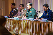"20 MAY 2104 - BANGKOK, THAILAND: General PRAYUTH CHAN-OCHA, Commander-in-Chief of the Royal Thai Army, (center, at microphone) tells members of Thai society about martial law during a meeting at the Army Club in Bangkok. The Thai Army declared martial law throughout Thailand in response to growing political tensions between anti-government protests led by Suthep Thaugsuban and pro-government protests led by the ""Red Shirts"" who support ousted Prime Minister Yingluck Shinawatra. Despite the declaration of martial law, daily life went on in Bangkok in a normal fashion. There were small isolated protests against martial law, which some Thais called a coup, but there was no violence.   PHOTO BY JACK KURTZ"