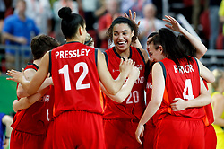 England's Dominique Allen (centre) celebrates their silver medal after the game in the Women's Gold Medal Game at the Gold Coast Convention and Exhibition Centre during day ten of the 2018 Commonwealth Games in the Gold Coast, Australia.