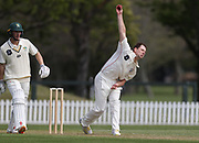Matt Henry of Canterbury bowls. Canterbury vs. Central Districts Day 1, 1st round of the 2021-2022 Plunket Shield cricket competition at Hagley Oval, Christchurch, on Saturday 23rd October 2021.<br /> © Copyright Photo: Martin Hunter/ www.photosport.nz
