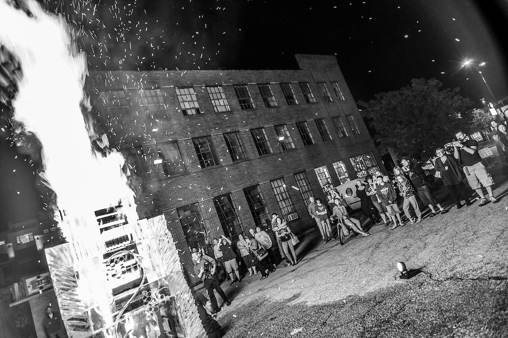 Crowd gathered around the Fire and Ice Tower at the NorthSide district during Akron Art Prize 2014.