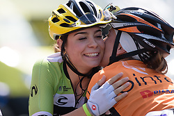 Sheyla Gutierrez (Cylance Pro Cycling) catches up with friends at Madrid Challenge by La Vuelta an 87km road race in Madrid, Spain on 11th September 2016.