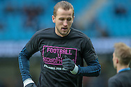 Harry Kane (Tottenham Hotspur) before the Barclays Premier League match between Manchester City and Tottenham Hotspur at the Etihad Stadium, Manchester, England on 14 February 2016. Photo by Mark P Doherty.