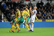 Jonjo Shelvey reacts to his miss for Swansea City.<br /> UEFA Europa league match, Swansea city v FC Kuban Krasnodar at the Liberty Stadium in Swansea, South Wales on Thursday 24th October 2013. pic by Phil Rees, Andrew Orchard sports photography,