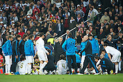 Champions League semi final second leg soccer match between Real Madrid and FC Bayern Munich at the Santiago Bernabeu stadium in Spain - <br /> MADRID 25/04/2012<br /> ESTADIO SANTIAGO BERNABEU.<br /> half final, Halbfinale, Semifinale,  CHAMPIONS LEAGUE<br /> REAL MADRID 2 - BAYERN 1<br /> picture: MOURINHO - fee liable image, copyright © ATP QUEEN INTERNACIONAL<br /> <br /> Real MADRID vs Fc BAYERN Match 2:1 und 3:1 im Elfmeterschieflen - and 3:1 in penalty shooting - Queen photographer Fernando ALVAREZ