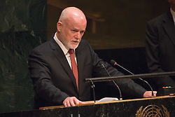September 16, 2016 - New York, NY, United States - President of the General Assembly Peter Thomson offers his remarks. Three days before the opening of the United Nations high-level Summit on Addressing Large Movements of Migrants and Refugees (September 19), Actor Ben Stiller and former refugee celebrities presented a petition from the #WithRefugees campaign to the UN.  On behalf of the UN, Secretary-General Ban Ki-moon and UN High Commissioner for Refugees Filippo Grandi participated in the event. (Credit Image: © Albin Lohr-Jones/Pacific Press via ZUMA Wire)