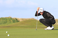 Dylan Keating (Seapoint) on the 1st green during Round 2 of the Ulster Boys Championship at Donegal Golf Club, Murvagh, Donegal, Co Donegal on Thursday 25th April 2019.<br /> Picture:  Thos Caffrey / www.golffile.ie