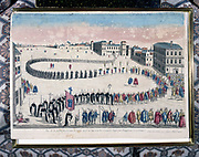 Grand procession of the auto-da-fe of criminals sentenced by the Inquisition at Lisbon. 18th century coloured engraving. Private collection