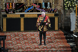 The Garter Principal King of Arms proclaims the Duke of Edinburgh's styles and titles from the sanctuary during his funeral at St George's Chapel, Windsor Castle, Berkshire. Picture date: Saturday April 17, 2021.