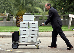 03 June  2015. New Orleans, Louisiana. <br /> Boxes of paperwork arrives at  Civil Distrcit Court for week 2 of a hearing to determine the competency of grandfather Tom Benson. Benson is the billionaire owner of the NFL New Orleans Saints, the NBA New Orleans Pelicans, various auto dealerships, banks, property assets and a slew of business interests. Rita, her brother and mother demanded a competency hearing after Benson changed his succession plans and decided to leave the bulk of his estate to third wife Gayle, sparking a controversial fight over control of the Benson business empire.<br /> Photo©; Charlie Varley/varleypix.com