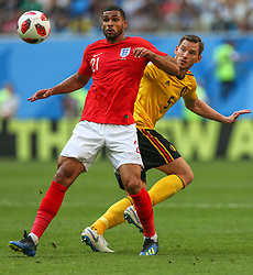 July 14, 2018 - Saint Petersburg, Russia - Ruben Loftus-Cheek (L) of the England national football team and Jan Vertonghen of the Belgium national football team vie for the ball during the 2018 FIFA World Cup Russia 3rd Place Playoff match between Belgium and England at Saint Petersburg Stadium on July 14, 2018 in St. Petersburg, Russia. (Credit Image: © Igor Russak/NurPhoto via ZUMA Press)