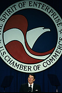 President Ronald Reagan speaks at the US Chamber of Commerce  on April 23, 1986<br /> Photo by Dennis Brack