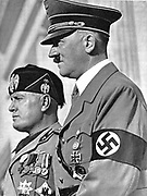 Adolph Hitler (1889-1945) and Benito Mussolini (1883-1945), German and Italian fascist dictators.