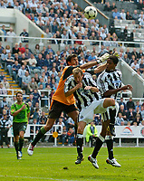 Fotball<br /> Treningskamper England<br /> 01.08.2004<br /> Foto: SBI/Digitalsport<br /> NORWAY ONLY<br /> <br /> Newcastle United v Sporting Lisbon<br /> <br /> Newcastle's Patrick Kluivert only had one real chance on his debut, floating a header over the bar.