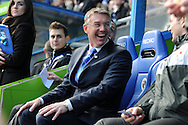 New Reading manager Nigel Adkins looks on in relaxed mood before the match.  Barclays Premier league, Reading v Southampton at the Madejski stadium in Reading on Saturday 6th April 2013. pic by Andrew Orchard, Andrew Orchard sports photography,