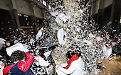 People Enjoy Pillow Fight To Release Pressure