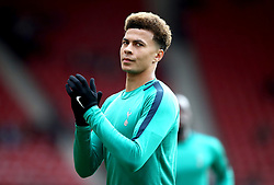Tottenham Hotspur's Dele Alli during the pre-match warm up prior to the Premier League match at St Mary's Stadium, Southampton.