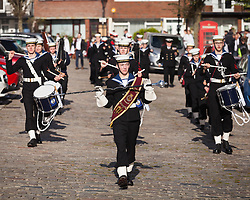 © Licensed to London News Pictures. 16/10/2016. Portsmouth, Hampshire, UK. Members of the Sea Cadet Corps in Portsmouth lead the precession at the annual seafarers service. Lord-Lieutenant of Hampshire, NIGEL ATKINSON and Lord Mayor of Portsmouth, Councillor DAVID FULLER, have taken part in the annual Service for Seafarers, held at Portsmouth Cathedral and the laying of wreaths at the statue of Lord Nelson. The service is held annually, on the first Sunday prior to the anniversary of the Battle of Trafalgar, 21st October, and remembers those who have lost their lives at sea, and also commemorates the life of Lord Horatio Nelson. Photo credit: Rob Arnold/LNP