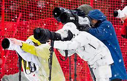Photographers during the 1st Run of 10th Men's Slalom - Pokal Vitranc 2013 of FIS Alpine Ski World Cup 2012/2013, on March 10, 2013 in Vitranc, Kranjska Gora, Slovenia. (Photo By Vid Ponikvar / Sportida.com)