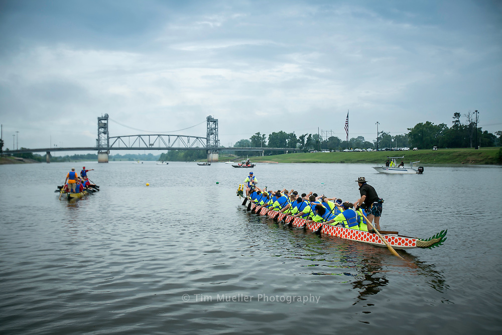 The 2012 Louisiana Dragon Boat Races sponsored by the Alexandria Museum of Art is held on the Red River at the Amphitheater in downtown Alexandria, Louisiana.