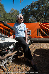 Still riding as a nonagenarian (90 year old,) Gloria Struck sitting on Billy Lane's Knucklehead entry at Harley Davidson's Editor's Choice Bike Show at the Broken Spoke Saloon during Daytona Bike Week 75th Anniversary event. FL, USA. Wednesday March 9, 2016.  Photography ©2016 Michael Lichter.