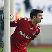 Besiktas's goalkeeper Cenk GONEN during their Turkish superleague soccer match Kasimpasa between Galatasaray at the Besiktas tadium in Istanbul Turkey on Monday 11 April 2011. Photo by TURKPIX