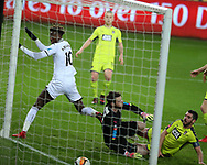 Tammy Abraham of Swansea city scores his teams 1st goal. The Emirates FA Cup, 4th round replay match, Swansea city v Notts County at the Liberty Stadium in Swansea, South Wales on Tuesday 6th February 2018.<br /> pic by  Andrew Orchard, Andrew Orchard sports photography.