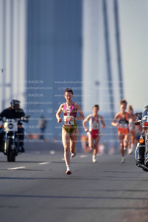NEW YORK - NOVEMBER 3:  Lisa Ondieki #F2 of Australia runs on the Verrazzano Bridge while competing in the 1991 New York City Marathon on November 3, 1991 in New York, New York.  Ondieki placed third in the race. (Photo by David Madison/Getty Images)