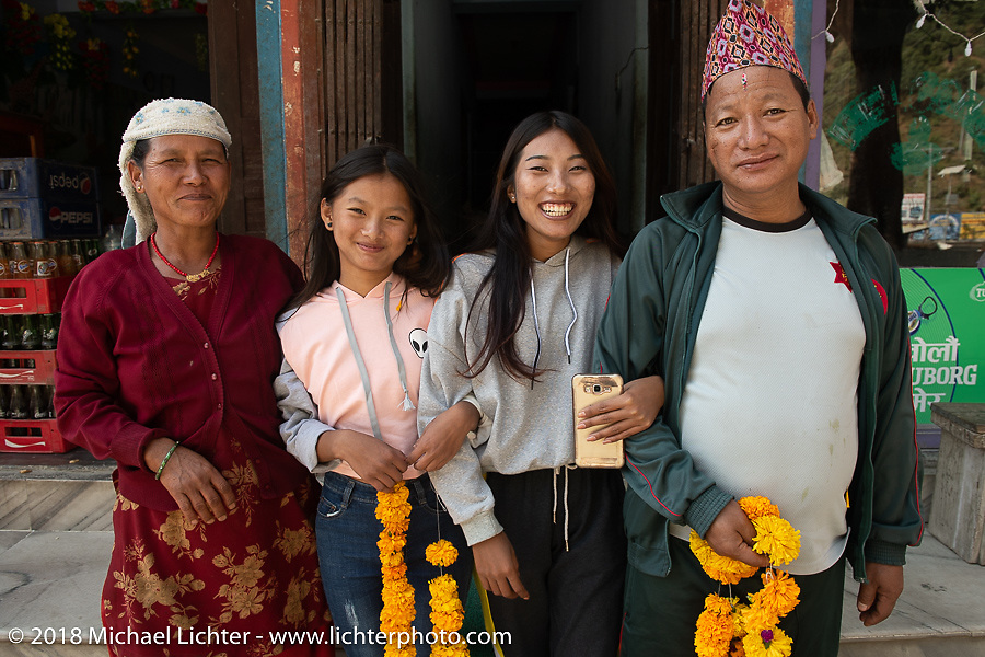 Locals at a rest stop on day-4 of our Himalayan Heroes adventure riding from Pokhara to Kalopani, Nepal. Friday, November 9, 2018. Photography ©2018 Michael Lichter.