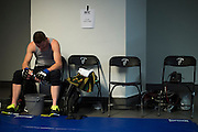 Clay Collard warms up backstage before his fight against Gabriel Benitez during UFC 188 at the Mexico City Arena in Mexico City, Mexico on June 13, 2015. (Cooper Neill)